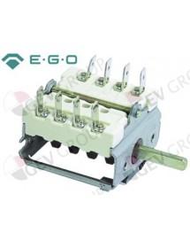 conmutador de levas 4 posiciones de control 4NO secuencia de conmutación 0-1-0-1 16A eje ø 6x4,6mm