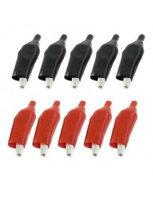 Test Alligator Clips Crocodile Clamp - Red + Black (Size M / 5 Pairs)