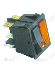 Rocker switch mounting measurements 30x22mm orange/orange 1NO/indicator light 250V 16A CF-Cenedese Clajosa