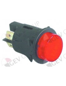 pulsador montaje ø 25mm ambar 2NO 250V 16A iluminado empalme conector Faston 6,3mm