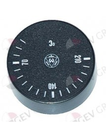 Knob thermostat t.max. 210°C 40-210°C ø 42mm shaft ø 6x4.6mm shaft flat -135° black