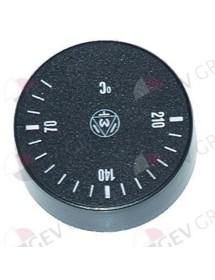 pomo termostato T máx 210°C 40-210°C ø 42mm eje ø 6x4,6mm parte plana -135° negro