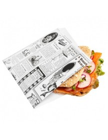 White greaseproof bag open 2 sides with newspaper design (500 pcs)