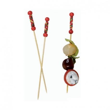 Bamboo Pick with Natural Beads and Red Design (200 pcs)
