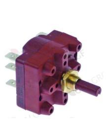 Conmutador giratorio 4 0-1-2 juegos de contactos 2 tipo 4RH 400V 16A eje ø 6,3x4,7mm eje L 15mm Gottak 440322 Braher 90009