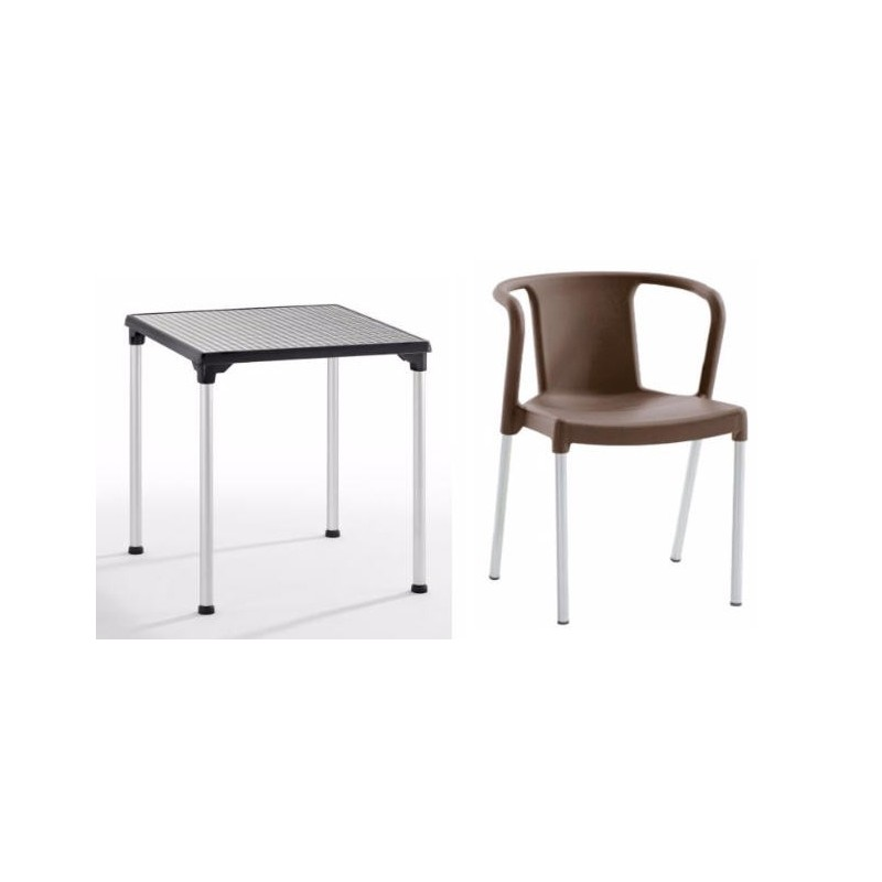 Peter pack 4 chaises avec table dorian chef global machines et mat riel d - Table avec 4 chaises ...