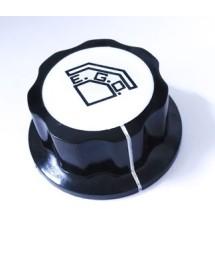 Pomo termostato EGO ø 45mm eje ø 6mm agarre 2 tornillos negro