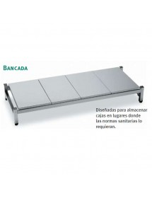 Stainless Steel Bench con Bandeja Lisa 500mm Fondo