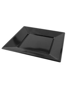 Plato cuadrado negro PS (Pack de 25 uds)