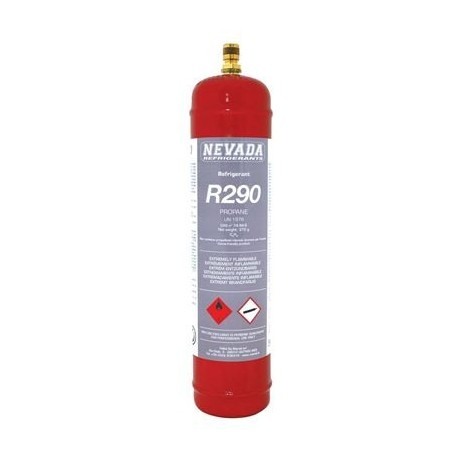 Gas Refrigerant R-290 Container. 370gr CE standard. Matallic container, brass valve.