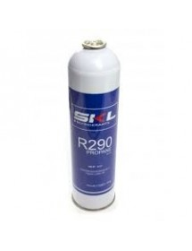 Gas Refrigerant R-290 Container. 370gr CE standard. Matallic container, brass valve.