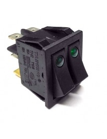 Rocker switch mounting measurements 30x22mm green-green 1NO/1NO/indicator light 250V 20A