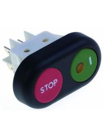 Interrupteur à poussoir 345510 dimensions de montage 30x22mm rouge/vert 2NO 250V RGV