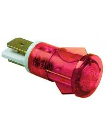 lámpara de señalización ø 12mm rojo 230V empalme conector Faston 6,3mm