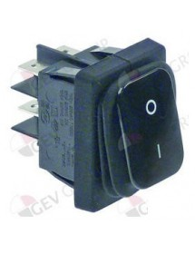 rocker switch mounting measurements 30x22mm black 2NO 230V 20A 0-1 connection male faston 6.3mm