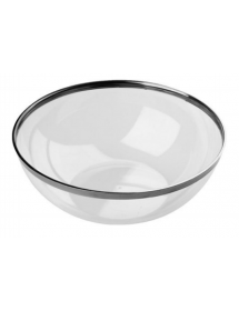 Transparent bowl with metallic edge.