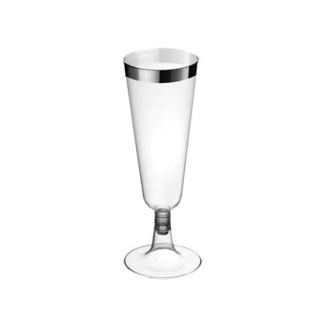 Transparent champagne glass with metallic edge (pack 6 units)