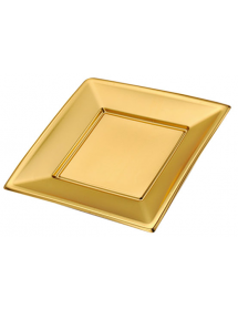 Plain plate square gold 17x17 cm (pack 4 units)