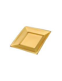 Plain plate square gold 23x23 cm (pack 25 units)