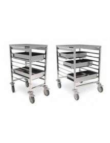 Truck with guides for trays and bins GN 1/1 and 2/1
