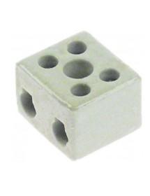 porcelain terminal block 2-pole 2,5mm² max. 10A max 250V t.max. 200°C L 22mm W 17mm H 15mm