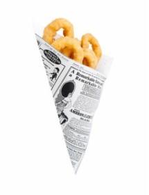 Conos de papel antigrasa Diseño Periódico TIMES (250 unidades)