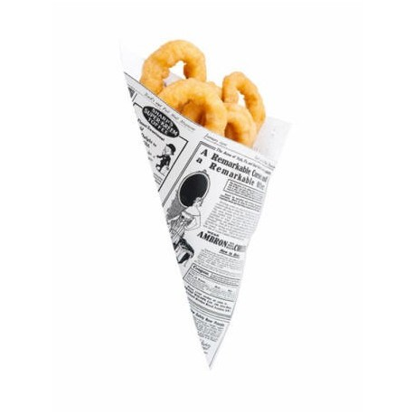 Greaseproof paper cones rolled newspaper TIMES (250 units)