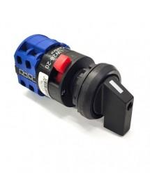 Conmutador giratorio 3 1-0-2 ON/OFF LW26-20 over turn eje ø 6mm HM-12