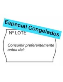 Rollos de etiquetas Onduladas 26x16 blanca Nº Lote/Consumir CONGELADOS (40 rollos)