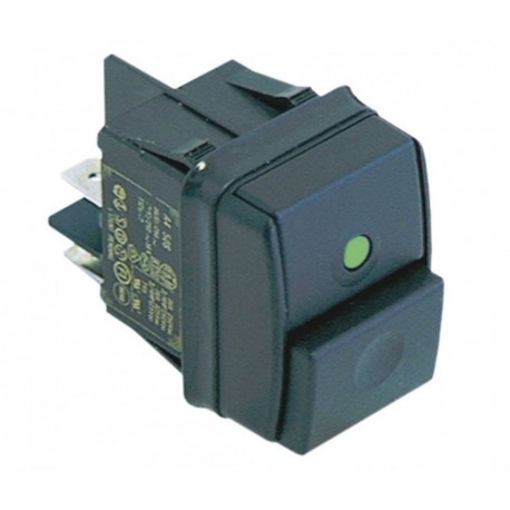 push switch mounting measurements 30x22mm green 2NO 250V 12A connection male faston 6.3mm 301082