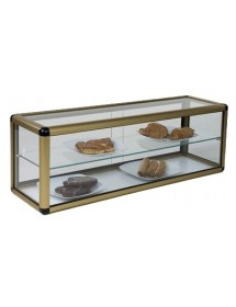 Neutral flat glass display case 2 levels with doors