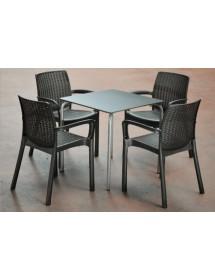 Conjunto de mesa y 4 sillas ANTRACITA