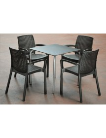 Table set and 4 chairs ANTRACITA