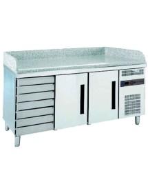 Mesa refrigerada de GN para preparación de pizza con cajones