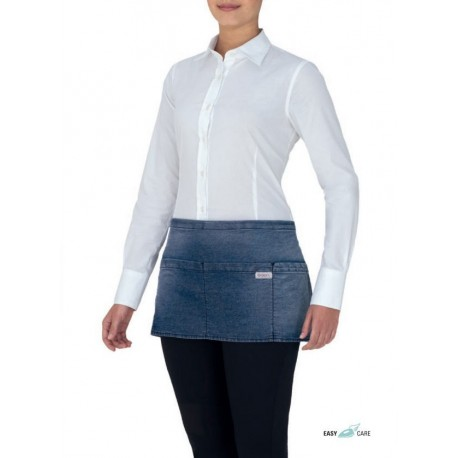 CHARLIE short-waisted apron in blue jeans
