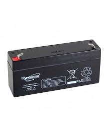 Lead AGM (Hermetic) Battery Stationary, 6 Volts, 3.3 Amperes, Dimensions 134 * 34 * 62 mm., Faston Terminals. weight 600GR