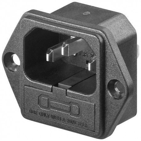 European input IEC C14 power connector for chassis with fuse (not included)
