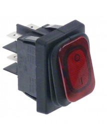 Rocker switch 30x22mm red 2NO 250V 20A illuminated 0-I connection male faston 6,3mm