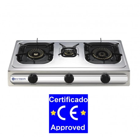 Cocina Sobremesa a gas 3B-03SRB 3 fuegos - Chef Global - Maquinaria ...
