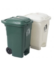 Waste bin with lid and wheels 70L.
