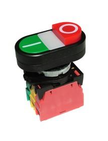 Pulsador montaje ø 22mm rojo/verde 400V 4A 0-I empalme atornillado 401357