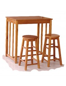 Pack high table and 2 wooden chairs REF. 2491