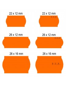 Pricing labels Orange Adhesive 2 22x12 26x12 26x16 (40 rolls)