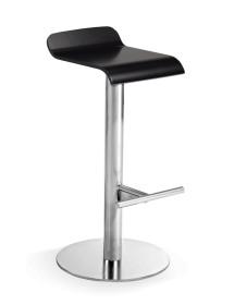 Taburete o silla alta de acero y asiento en madera o estratificado