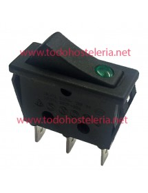Interruptor basculante 30x11mm verde 1NO/lámpara 250V 16A empalme conector Faston 6,3mm