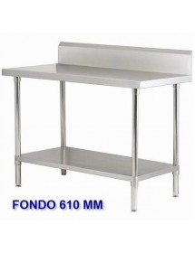 Wall-side work table in stainless steel with shelf Depth 610 mm