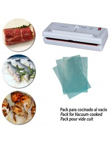 Pack semiprofessional vacuum packaging with embossed vacuum bags