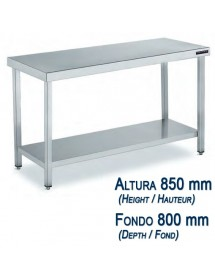 Central work table in stainless steel Depth 800 mm and height 850 mm