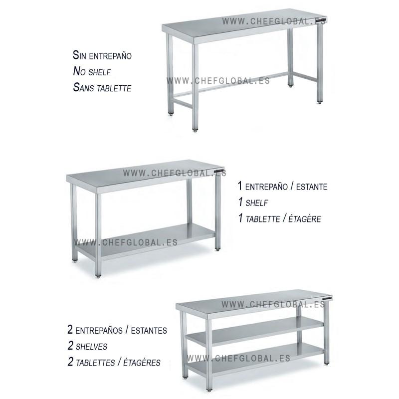 table basse acier inoxydable fond 800 mm et hauteur 850 mm chef global machines et mat riel. Black Bedroom Furniture Sets. Home Design Ideas