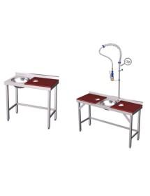 Mesas de preparación y lavado de acero inoxidable con fibra
